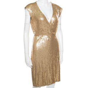 Michael Kors Gold Sequin Wrap Dress L